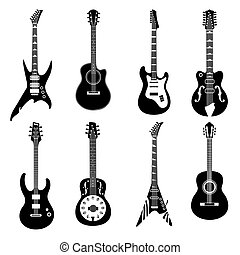 állhatatos, fekete, gitárok, ikonok