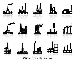 állhatatos, fekete, gyár, ikonok