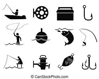állhatatos, fekete, halászat, ikonok