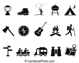 állhatatos, fekete, kempingezés, ikonok