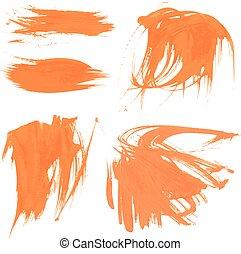állhatatos, festék, struktúra, 1, smears, narancs