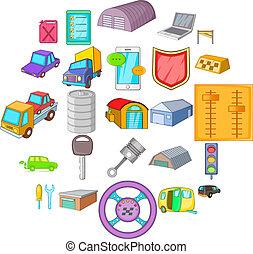 állhatatos, garázs, mód, karikatúra, ikonok