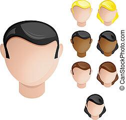 állhatatos, gazdag koncentrátum, emberek, haj, befest, 4, bőr, female., hím