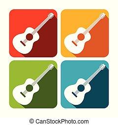 állhatatos, gitár, derékszögben tervezés, akusztikai, ikon
