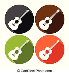állhatatos, gitár, tervezés, akusztikai, kerek, ikon