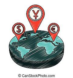 állhatatos, gombostű, pénz jelkép, crypto, bolygó, elhelyezés, földdel feltölt, mutató