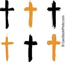 állhatatos, grunge, collectio, ikonok, kereszt, sárga, hand-drawn, fekete