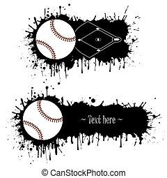 állhatatos, grunge, kéz, baseball, húzott, szalagcímek