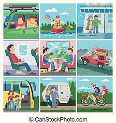 állhatatos, gyerekek, természetjáró, emberek, seaboat, kiképez, párosít, repülőgép, betű, szünidő, ábra, vagy, vektor, travellng, autó, utazó, utazó, elgáncsol