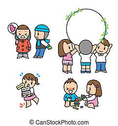 állhatatos, gyermek, illust