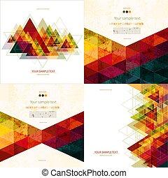 állhatatos, háromszög, színes, elvont, háromszögű, négy, háttér, polygons., geometriai, mózesi