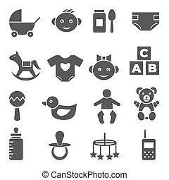 állhatatos, háttér, csecsemő, fehér, ikonok