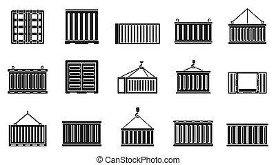 állhatatos, hajó, mód, teherárú tároló, együgyű icons