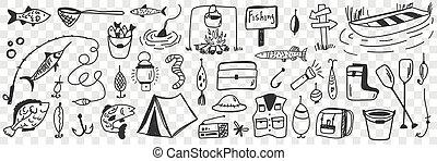állhatatos, halászat, eszközök, segédszervek, szórakozottan firkálgat