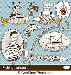 állhatatos, halászat, karikatúra