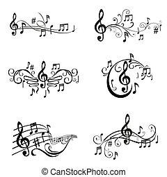 állhatatos, hangjegy, -, ábra, vektor, zenés