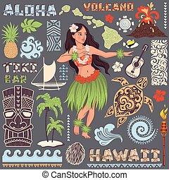 állhatatos, hawaii-i, ikonok, jelkép, vektor, retro