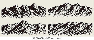 állhatatos, hegy, körvonal, lőtávolság