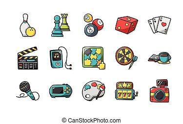 állhatatos, hobbi, szabad, ikonok, eps10
