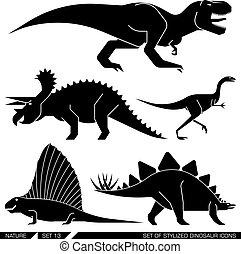 állhatatos, icons., stilizált, dinoszaurusz, vektor, mértanian