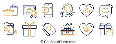 állhatatos, időjárás, őt, vektor, hasonló, szeret, cédula, ikonok, ünnepek, telefon.