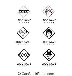 állhatatos, ikon, vektor, szemüveg, sablon, tervezés, jelkép