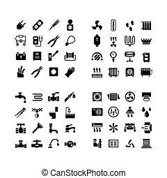 állhatatos, ikonok, épület, rendszer, icons., csőhálózat házi, villanyáram, fűtés