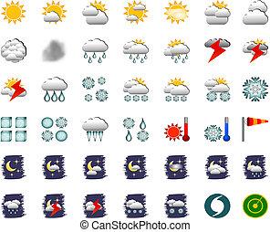 állhatatos, ikonok, 42, -, vektor, időjárás