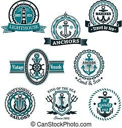 állhatatos, ikonok, címertani, vektor, tengeri, tengeri