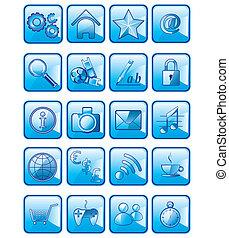 állhatatos, ikonok, elszigetelt, alkalmazás, vektor, háttér, fehér