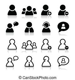 állhatatos, ikonok, -, fekete, felhasználó, üzletember