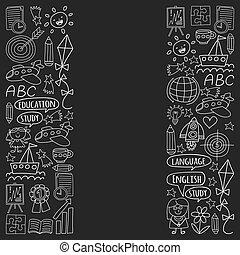 állhatatos, ikonok, festett, angol, blackboard., nyelv, kréta, gyermekek, vektor, fekete, tanulás, szórakozottan firkálgat, mozi, rajz, style., monochrom