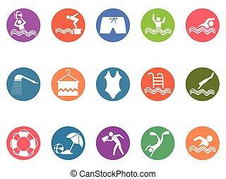 állhatatos, ikonok, gombol, kerek, pocsolya, úszás