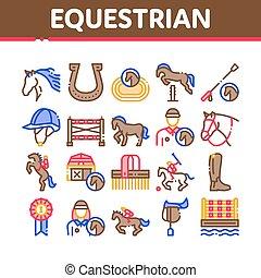 állhatatos, ikonok, gyűjtés, vektor, lovaglási, állat