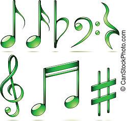állhatatos, ikonok, hangjegy, elszigetelt, háttér., vektor, zene, fehér