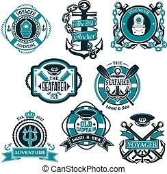 állhatatos, ikonok, jelkép, vektor, tengeri, tengeri