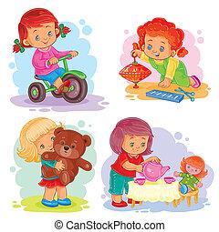 állhatatos, ikonok, lány, apró, kicsi, játék