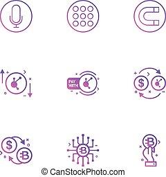 állhatatos, ikonok, mágnes, crypto, eps, étrend, pénz, vektor, érme, dollár, 9, darab, mikrofon