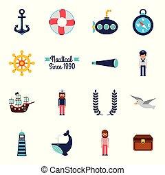 állhatatos, ikonok, motívum, seamless, jelkép, tengeri, tengeri