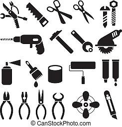 állhatatos, ikonok, munka, -, vektor, eszközök