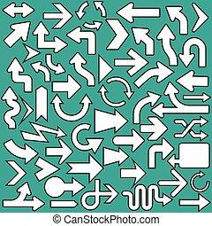 állhatatos, ikonok, nyílvesszö, ábra, jelkép, vektor