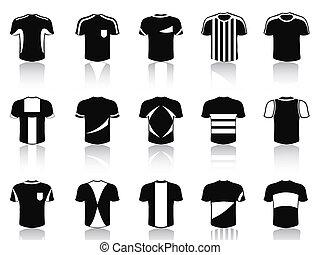 állhatatos, ikonok, póló, fekete, futball, öltözet