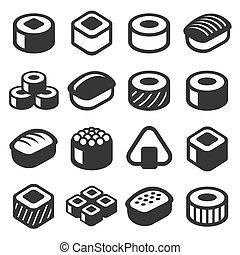 állhatatos, ikonok, sushi, háttér., vektor, fehér