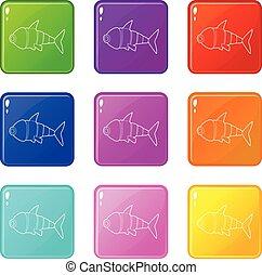 állhatatos, ikonok, szín, fish, robot, gyűjtés, 9