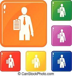 állhatatos, ikonok, szín, politikai, vektor, gyűlés