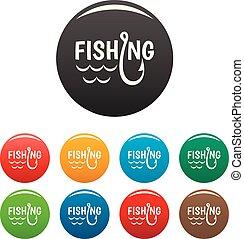 állhatatos, ikonok, szín, tó, begörbít, halászat