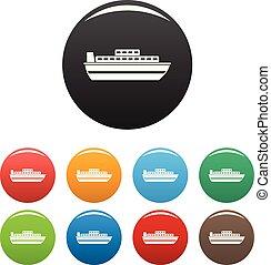 állhatatos, ikonok, szín, utazás, vektor, luxushajó
