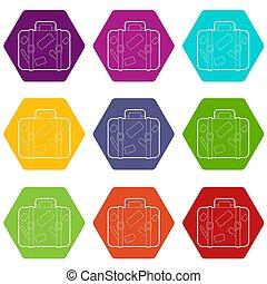 állhatatos, ikonok, utazás, bőrönd, 9, böllér
