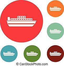 állhatatos, ikonok, utazás, vektor, cirkálás, karika, hajó