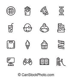 állhatatos, ikonok, vektor, hájasság, egyenes, gyermekkor, indokok